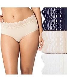 Women's 3-Pk. Plus Size Secret Hug Lace Trim Hipster Underwear 913J3