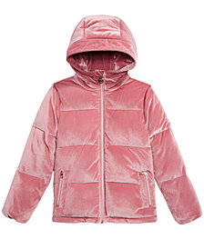 MICHAEL Michael Kors Big Girls Hooded Velvet Puffer Jacket