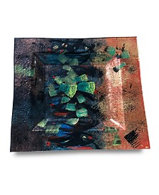 """14"""" x 14"""" Square Plate, Hand Painted on Fused Glass"""