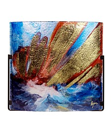 "17"" x 17"" Square Wall Piece, Hand Paintedon Fused Glass"