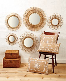 Handcrafted Natural Rattan Wall Mirrors, Set of 5