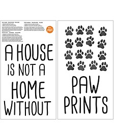 Home With Paw Prints Wall Quote