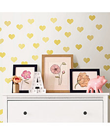 Metallic Gold Hearts Wall Art Kit Set Of 2