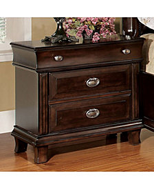 Transitional Style Night Stand, Brown Cherry