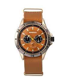 Breed Quartz Dixon Gold And Light Brown Genuine Leather Watches 43mm