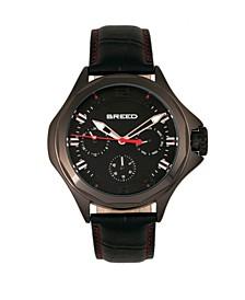 Quartz Tempe Black Genuine Leather Watches 43mm