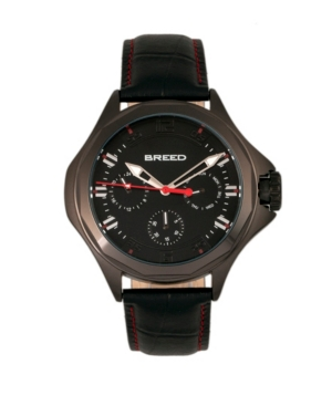 Breed Quartz Tempe Black Genuine Leather Watches 43mm