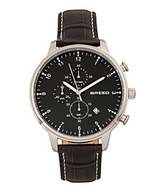 Quartz Holden Chronograph Silver And Black Genuine Leather Watches 45mm