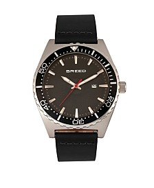 Breed Quartz Ranger Silver And Black Genuine Leather Watches 45mm