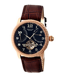 Heritor Automatic Piccard Rose Gold & Black Leather Watches 44mm