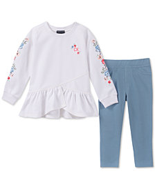 Calvin Klein Little Girls 2-Pc. Floral Embroidered Tunic & Leggings Set