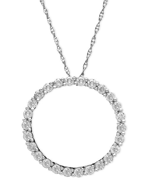 Macys diamond open circle pendant necklace in 14k white gold the classic eternity circle pendant is that much more glamorous with the addition of round cut diamonds each pendant is crafted with a 14k white gold aloadofball Gallery