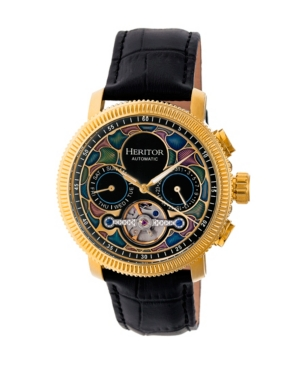 Heritor Automatic Aura Gold & Black Leather Watches 44mm