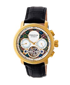 Heritor Automatic Aura Gold & White Leather Watches 44mm