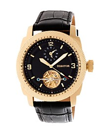 Heritor Automatic Helmsley Gold & Black Leather Watches 45mm