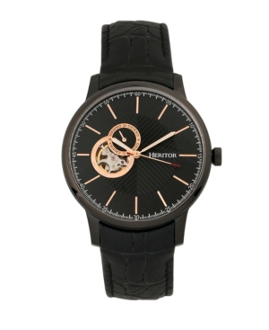 Automatic Landon Black Leather Watches 44mm