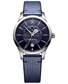 Women's Swiss Alliance Small Blue Leather Strap Watch 35mm
