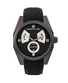 Morphic M34 Series, Black/Silver Silicone Watch, 44mm