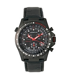 M36 Series, Black Case Charcoal Leather Band Chronograph Watch, 44mm