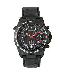 Morphic M36 Series Leather-Band Chronograph Watch - Black/Charcoal