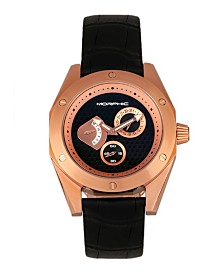 Morphic M46 Series, Rose Gold Case, Black Leather Band Men's Watch w/Date, 44mm