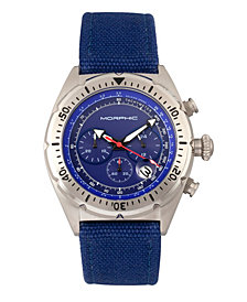 Morphic M53 Series, Silver Case, Chronograph Fiber Weaved Blue Leather Band Watch w/Date, 45mm