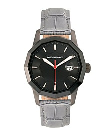 M56 Series, Black Case, Grey Leather Band Watch w/Date, 42mm