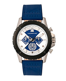 Morphic M57 Series, Silver Case, Blue Chronograph Leather Band Watch, 43mm