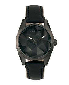 Morphic M59 Series, Black Case, Black Leather Overlaid Canvas Band Watch, 44mm