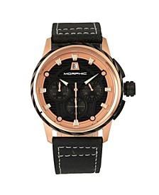 M61 Series, Rose Gold Case, Black Leather Chronograph Band Watch w/Date, 45mm
