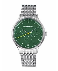M65 Series, Green Face, Silver Bracelet Watch w/Day/Date, 42mm