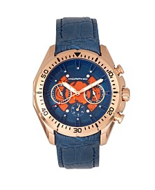 Morphic M66 Series, Skeleton Dial, Rose Gold Case, Blue Leather Band Watch w/Day/Date, 45mm