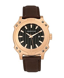 M68 Series, Rose Gold Case, Brown Leather Band Watch w/Date, 44mm