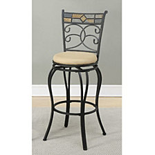 29 Inch Metal Swivel Barstool With Footrest, Black, Set Of 2
