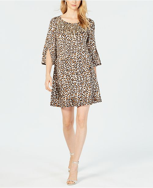 MSK Embellished Leopard-Print Dress