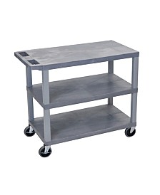"Clickhere2shop 32"" x 18"" Utility Cart with Three Flat Shelves - Gray"