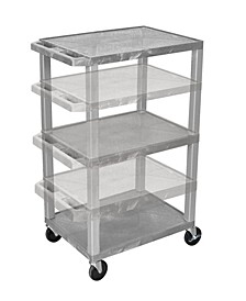 "OF-WT1642GYE-N - 42"" Multi - Height Three Shelves AV Electric Cart - Nickel Legs, Gray"