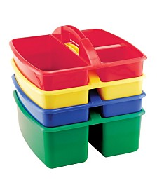 Offex 4 Piece Small Storage Caddy with 3 Compartment - Perfect For Storing Art Supplies - 3 Pack