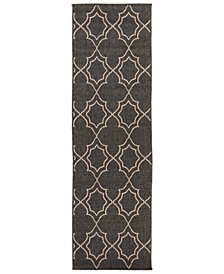 "Surya Alfresco ALF-9590 Black 2'3"" x 11'9"" Runner Area Rug"