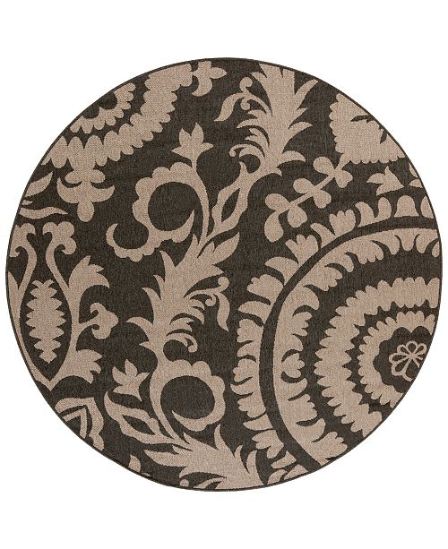 "Surya Alfresco ALF-9615 Black 7'3"" Round Area Rug, Indoor/Outdoor"