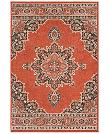 "Alfresco ALF-9672 Burnt Orange 5'3"" x 7'6"" Area Rug, Indoor/Outdoor"