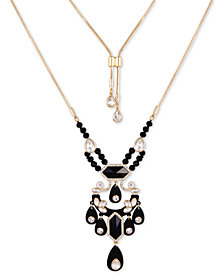 """GUESS Gold-Tone Multi-Stone Lariat Necklace, 18"""" + 2"""" extender"""