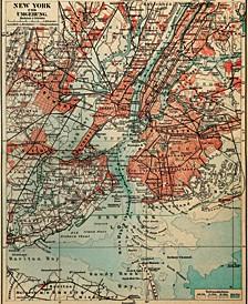"""Vintage New York Map 16"""" X 20"""" Canvas Wall Art Print"""