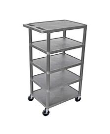 Five Flat-Shelf Structural Foam Plastic Utility Cart - Gray OFX-66869-LX
