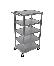 Offex Five Flat-Shelf Structural Foam Plastic Utility Cart - Gray OFX-66869-LX