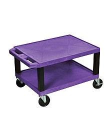 "Offex 16""H Tuffy AV Cart with 2 Shelf, Electric - Purple Shelves/Black Legs"