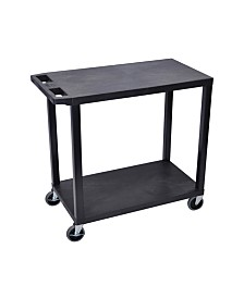 "Offex 32"" x 18"" Two Flat Shelves Utility Cart - Black"