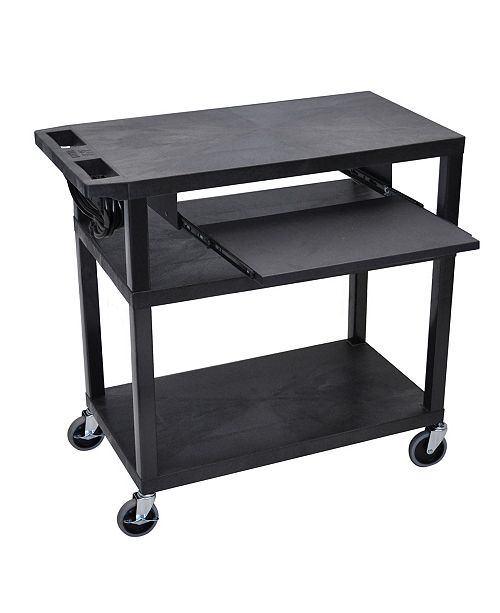 "Clickhere2shop 34""H 3 Flat Shelves Presentation Station with Pullout Shelf, Electric - Black"