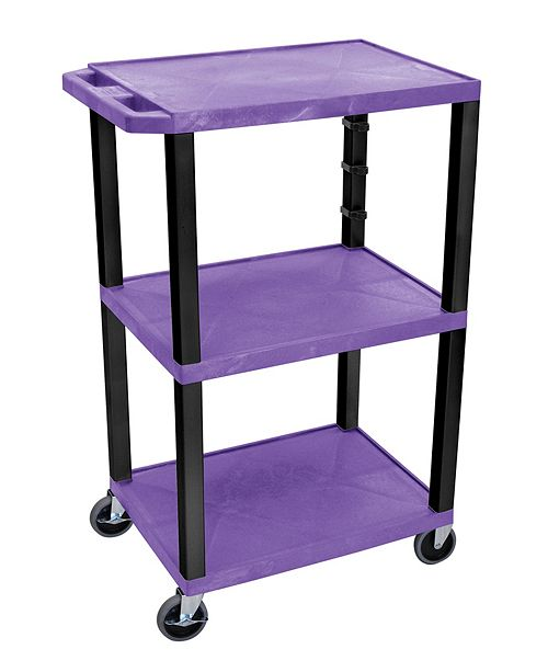 "Clickhere2shop 42""H Tuffy AV Cart - 3 Shelf, Electric - Purple Shelves/Black Legs"