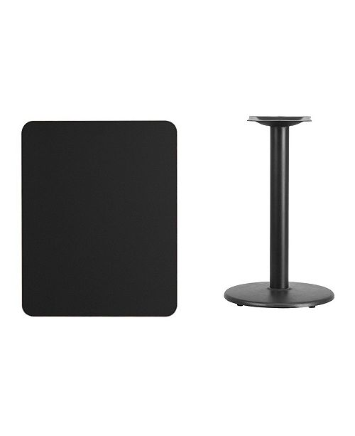 """Clickhere2shop Rectangular Walnut Laminate Table Top with 18"""" Round Table Height Base"""